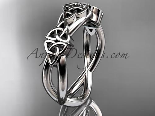 Irish Wedding Band, Platinum Celtic Bridal Ring CT7505G