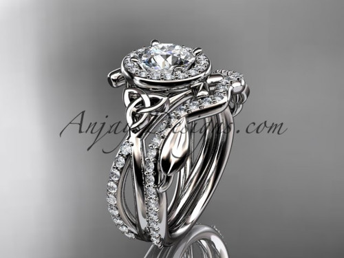 "14kt white gold celtic trinity knot engagement set, wedding ring with a ""Forever One"" Moissanite center stone CT789S"