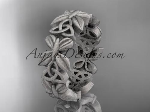 14kt white gold  celtic trinity knot matte finish wedding band, engagement ring CT7347G