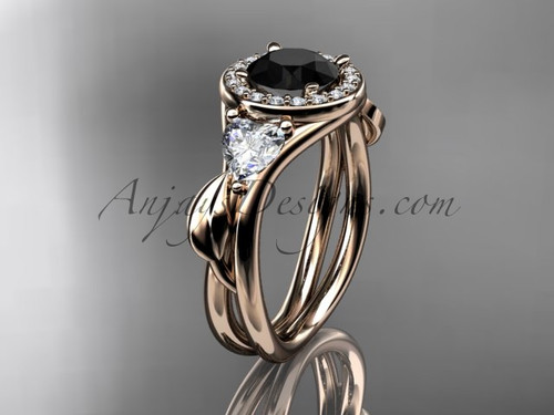 14kt rose gold diamond unique engagement ring, wedding ring  with a Black Diamond center stone ADLR314