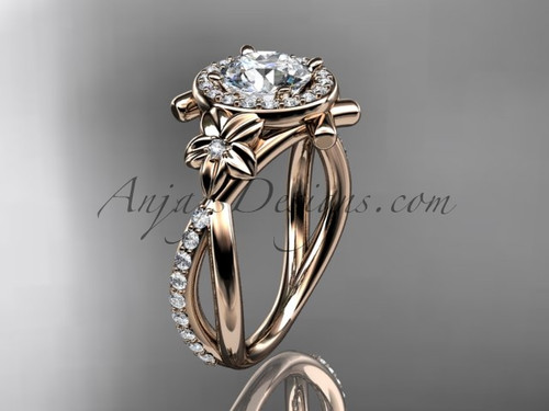 14kt rose gold diamond leaf and vine wedding ring, engagement ring ADLR89