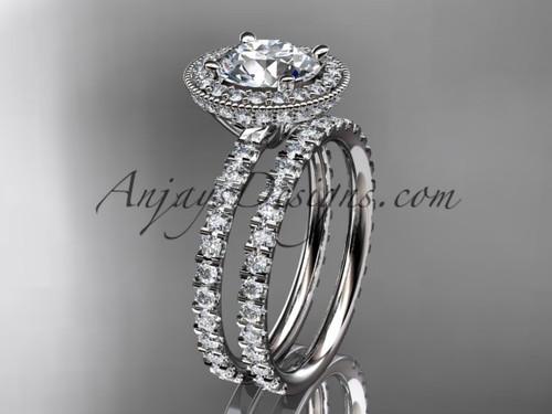 platinum diamond unique wedding ring, engagement set ADER106S