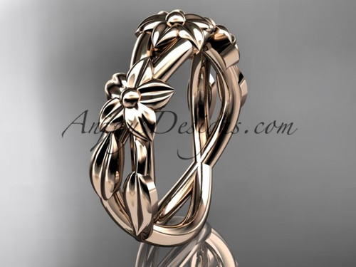 14kt rose gold leaf & flower  wedding band ADLR204G