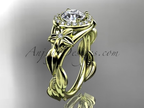 "14k yellow gold diamond unique leaf and vine, floral engagement ring with a ""Forever One"" Moissanite center stone ADLR327"