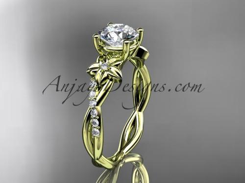 14kt yellow gold flower diamond  wedding ring, engagement ring ADLR388