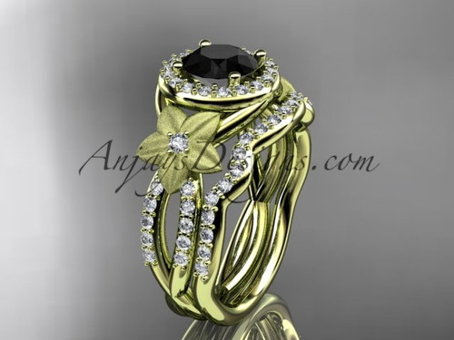 14kt yellow gold  diamond floral wedding ring, engagement set with a Black Diamond center stone ADLR127S