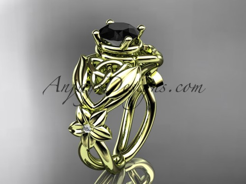14kt yellow gold diamond celtic trinity knot  wedding ring, engagement ring with a Black Diamond center stone CT7501