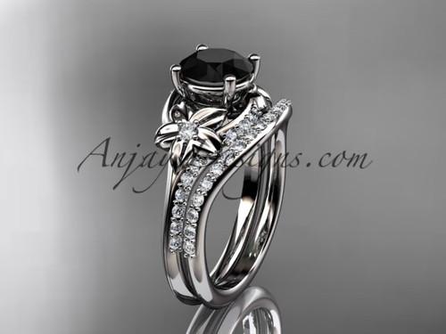 14kt white gold diamond floral wedding set, engagement set with a Black Diamond center stone ADLR125S
