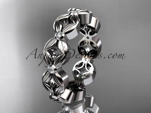 14kt white gold diamond flower wedding ring,engagement ring,wedding band ADLR18A