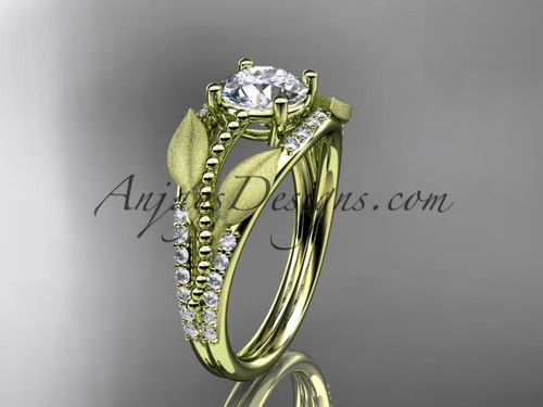 "14kt yellow gold diamond leaf and vine wedding ring, engagement ring with  ""Forever One"" Moissanite center stone ADLR75"