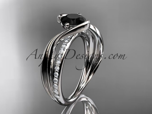 White Gold Black Diamond Engagement Ring, Leaf Ring ADLR78