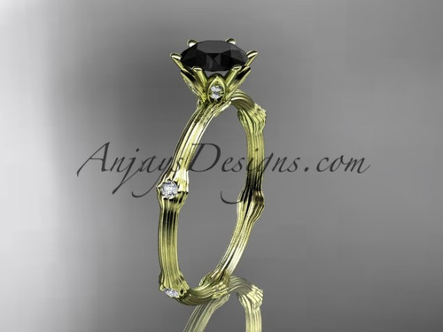 Vine Engagement Ring - Yellow Gold Black Diamond Ring ADLR38