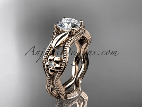 Unusual Flower Engagement Rings Rose Gold Leaf Ring ADLR382