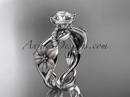 """Unique 14kt white gold diamond floral leaf and vine wedding ring, engagement ring with a """"Forever One"""" Moissanite center stone ADLR270"""