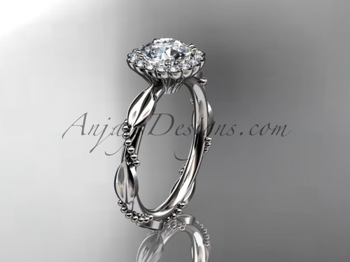 """14kt white gold diamond leaf and vine wedding ring, engagement ring with a """"Forever One"""" Moissanite center stone ADLR337"""