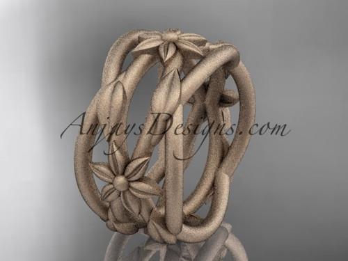 Leaf Engagement Rings Rose Gold Matte Wedding Ring ADLR352G