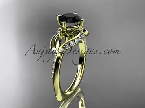 Unique 14k yellow gold diamond leaf and vine wedding ring, engagement ring with a Black Diamond center stone ADLR225