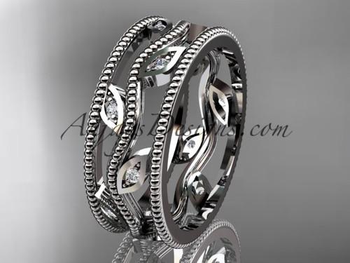 14k white gold diamond leaf and vine wedding band,engagement ring ADLR7B