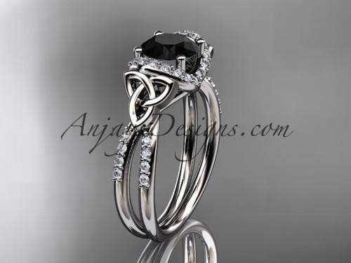 Celtic Trinity Knot Bridal Ring, White Gold Black Diamond Wedding Ring CT7155