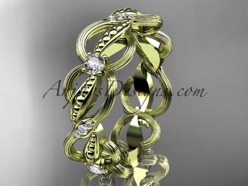 14kt yellow gold diamond leaf and vine wedding ring, engagement ring, wedding band ADLR52B