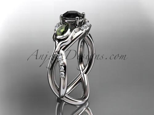 Unique Platinum diamond tulip flower, leaf and vine engagement ring with a Black Diamond center stone ADLR226