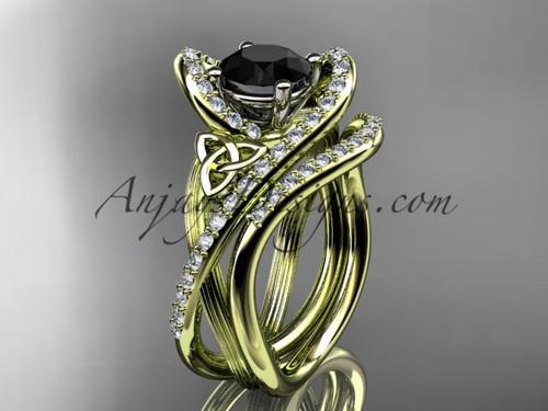 14kt yellow gold diamond celtic trinity knot wedding ring, engagement set with a Black Diamond center stone CT7369S
