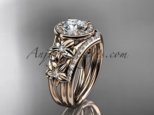 "14kt rose gold diamond floral wedding ring, engagement set with a ""Forever One"" Moissanite center stone ADLR131S"