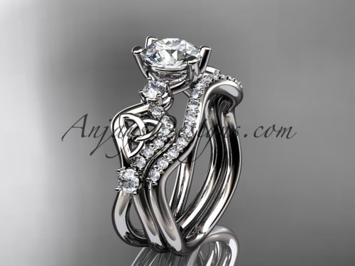 """platinum celtic trinity knot engagement set, wedding ring with a """"Forever One"""" Moissanite center stone CT768S"""