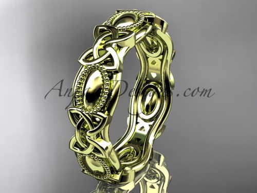 14kt yellow gold celtic trinity knot wedding band, engagement ring CT7152G