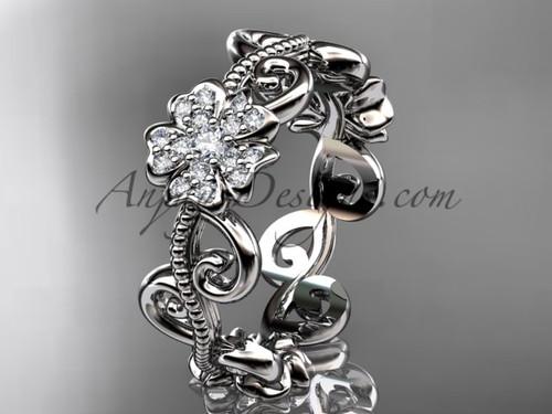 Cherry Blossom Flower Wedding Band, White Gold Ring VD8138