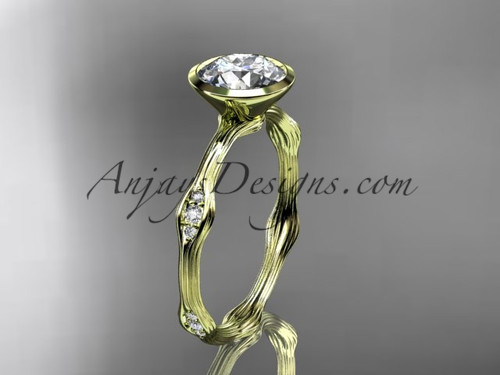 "14k yellow gold diamond vine wedding ring, engagement ring with  ""Forever One"" Moissanite center stone ADLR21A"
