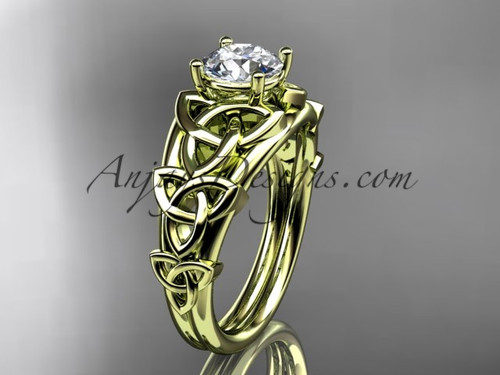 """14kt yellow gold celtic trinity knot engagement ring , wedding ring  with a """"Forever One"""" Moissanite center stone CT765"""