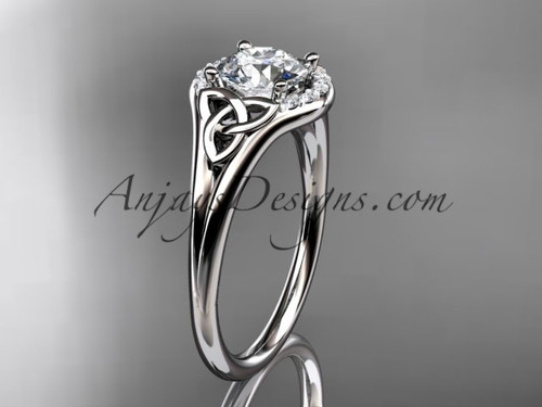 """14kt white gold celtic trinity knot engagement ring, wedding ring with a """"Forever One"""" Moissanite center stone CT791"""