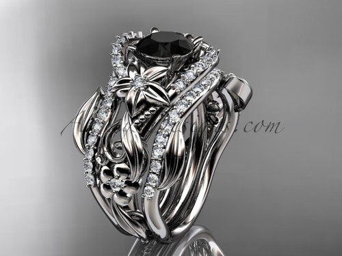 14kt white gold diamond leaf and vine engagement ring with  Black Diamond center stone and double matching band ADLR211S