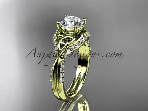 """14kt yellow gold diamond celtic trinity knot wedding ring, engagement ring with a """"Forever One"""" Moissanite center stone CT7224"""