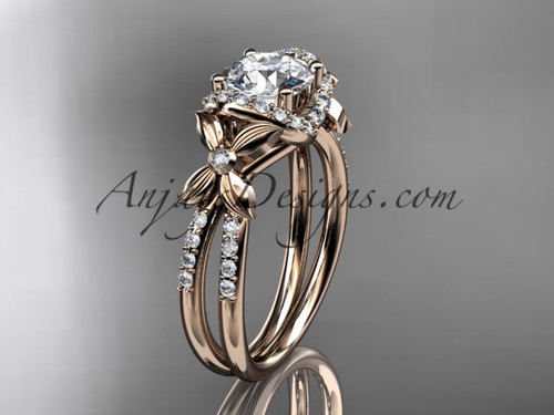 14kt rose gold diamond floral wedding ring, engagement ring ADLR140