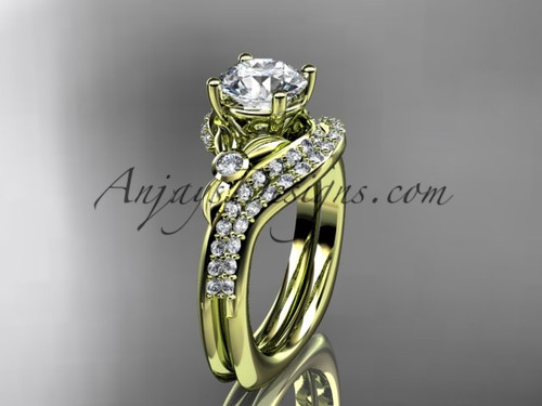"""14kt yellow gold diamond leaf and vine engagement ring set with a """"Forever One"""" Moissanite center stone ADLR112S"""