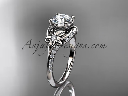 """14kt white gold diamond floral wedding ring, engagement ring with a """"Forever One"""" Moissanite center stone ADLR125"""