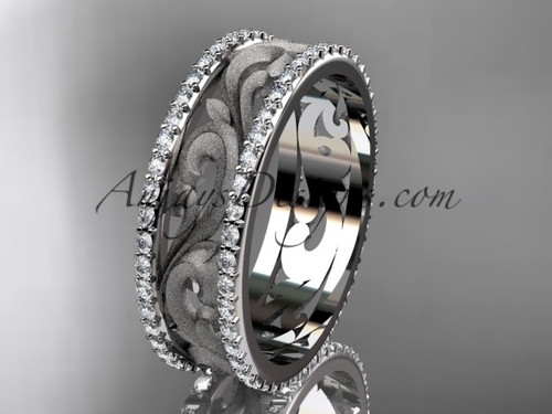 14kt white gold diamond engagement ring, wedding band ADLR414BD