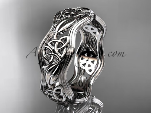 14kt white gold celtic trinity knot wedding band, engagement  ring CT7504G