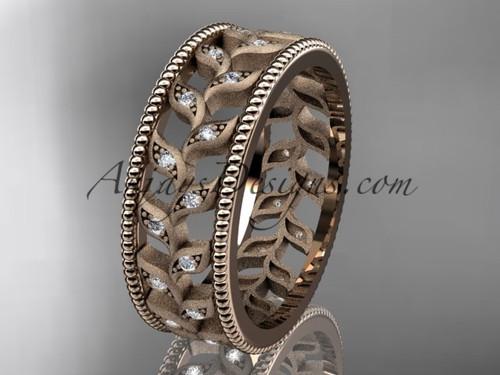 14kt rose gold diamond leaf and vine wedding ring, engagement ring, wedding band ADLR46B