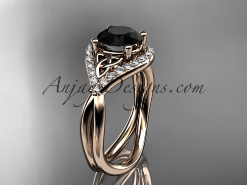 14kt rose gold diamond celtic trinity knot wedding ring, engagement ring with a Black Diamond center stone CT7390