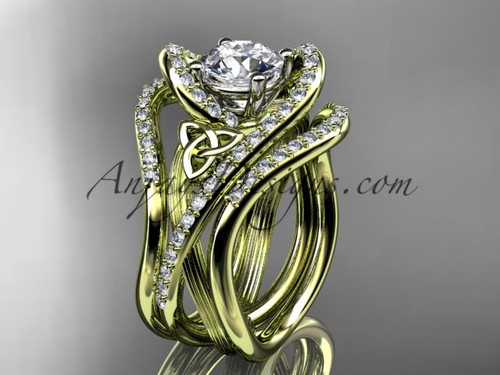 """14kt yellow gold diamond celtic trinity knot wedding ring, engagement ring with a """"Forever One"""" Moissanite center stone and double matching band  CT7369S"""