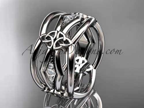 14kt white gold diamond celtic trinity knot wedding band,  triquetra ring, engagement  ring CT7521B