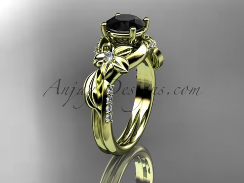 Unique 14k yellow gold diamond flower, leaf and vine wedding ring, engagement ring with a Black Diamond center stone ADLR224