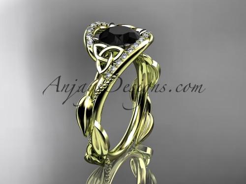 Scottish Celtic Wedding Ring Yellow Gold Black Diamond CT764