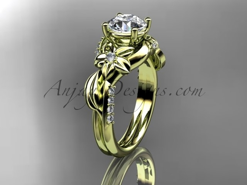 Unique 14k yellow gold diamond flower, leaf and vine wedding ring, engagement ring ADLR224