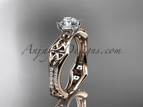 """14kt rose gold diamond celtic trinity ring,  triquetra ring, engagement  ring with a """"Forever One"""" Moissanite center stone CT7353"""