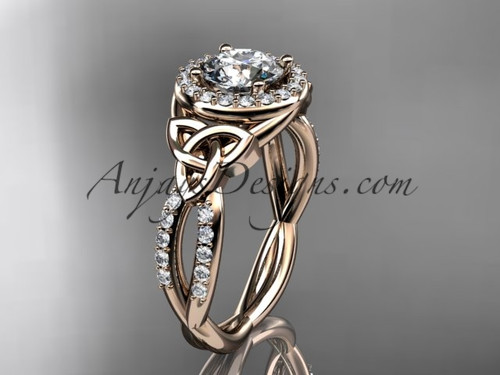 "14kt rose gold diamond celtic trinity knot wedding ring, engagement ring with a ""Forever One"" Moissanite center stone CT7127"