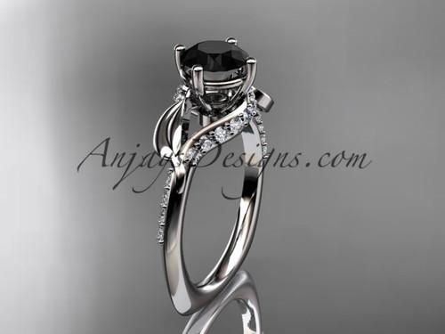 Unique Platinum diamond leaf and vine wedding ring, engagement ring with a Black Diamond center stone ADLR225